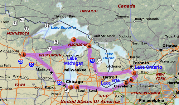 Great Lakes Trip Map